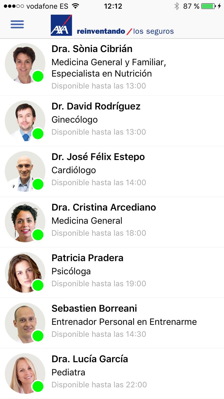 Chat Médico listado médico