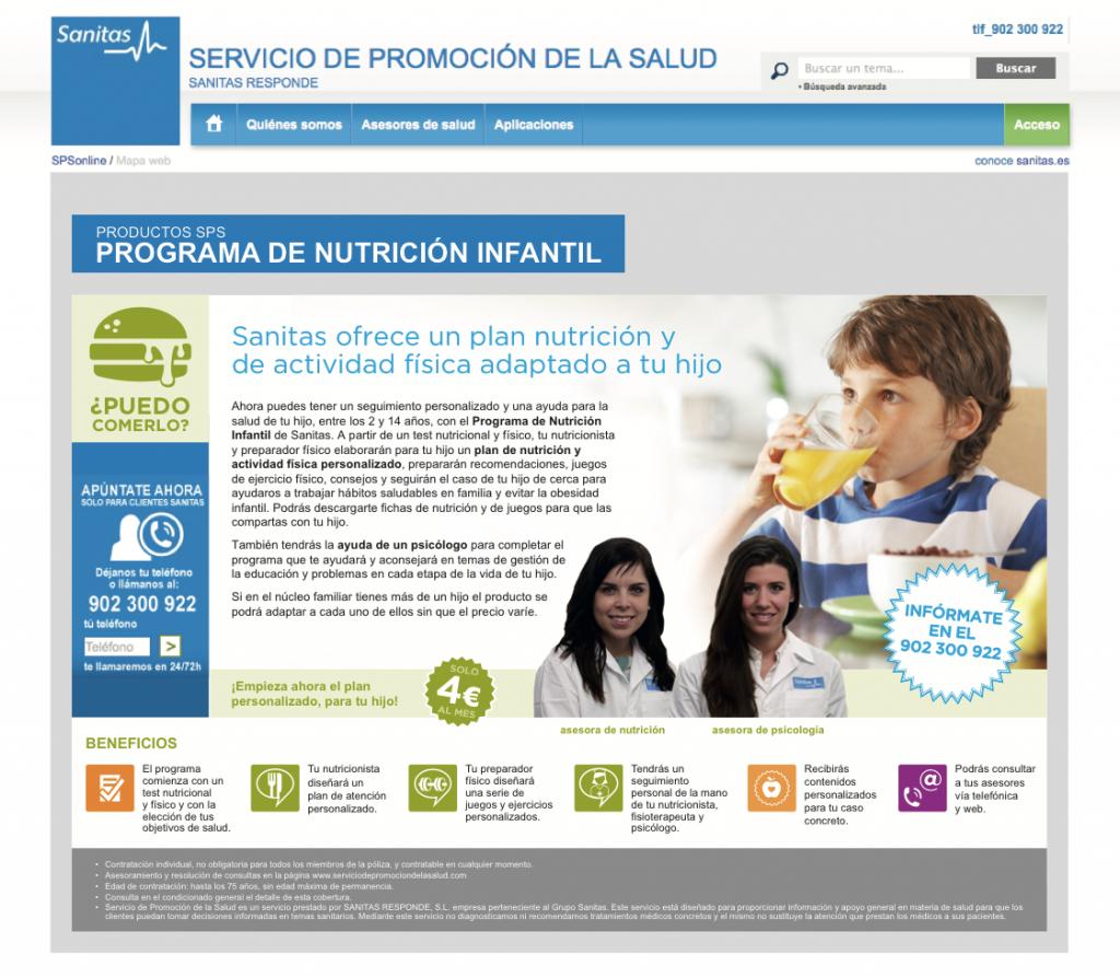 Página promoción servicio de pago Nutrición
