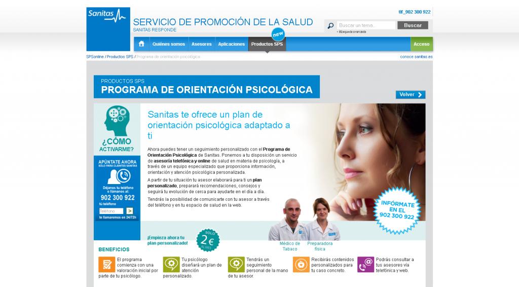 Página promoción servicio de pago Psicologia